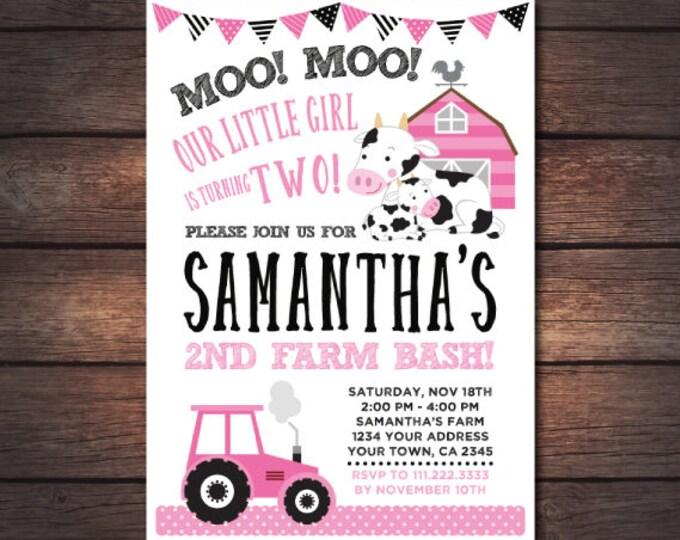 Farm Girl Birthday Invitation, Pink Barnyard Invitation, Cow Birthday Party, ANY AGE, Digital Invitation, You print!