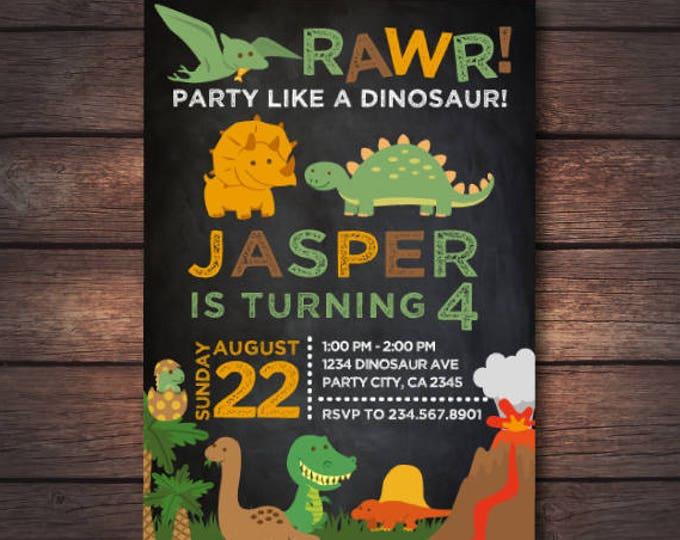 Dinosaur Invitation, Dinosaur Birthday Invitation, Adventure Invitation, Prehistoric Birthday Invitation, 2 options, Digital Invitation