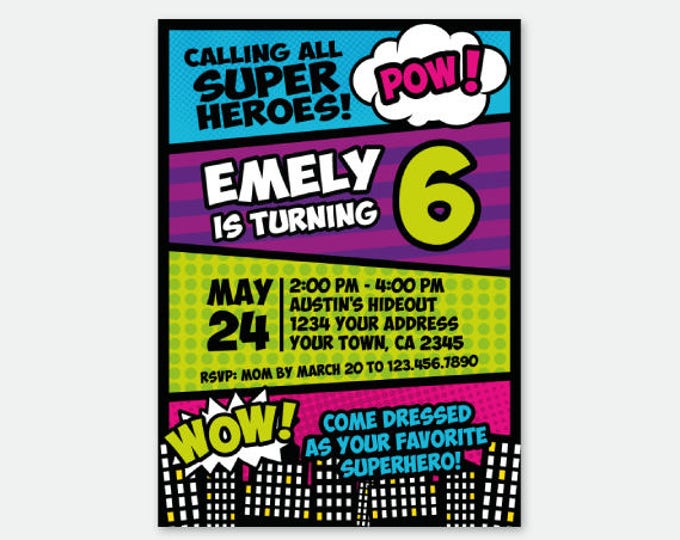 Superhero Girl Invitation, Superheroes Birthday Party, Superhero Invite, Personalized Digital Invitation