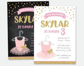 Tutu Invitation, Tutu Birthday party, Ballerina invitation, Ballet Invitation,  Personalized DIGITAL Invitation