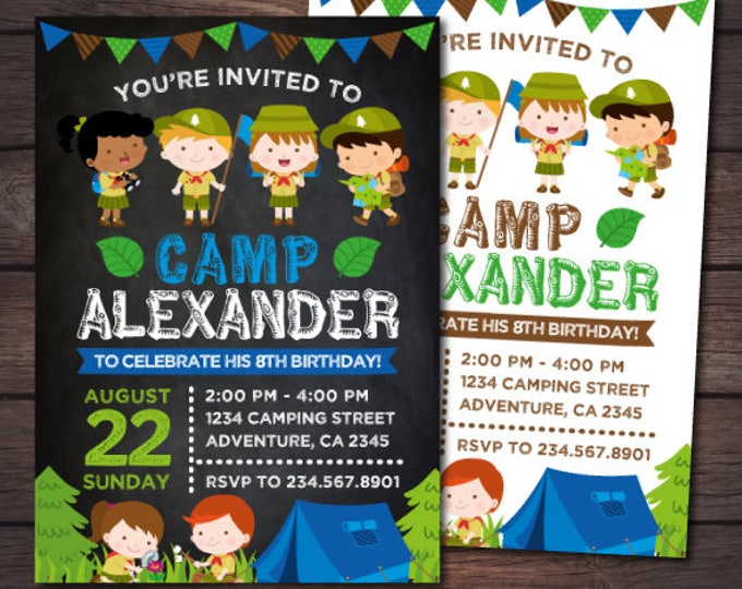 Boy Camping Invitation, Campout Birthday Party, Adventure Party, Summer Camp Invitation, Personalized DIGITAL Invitation, 2 Options