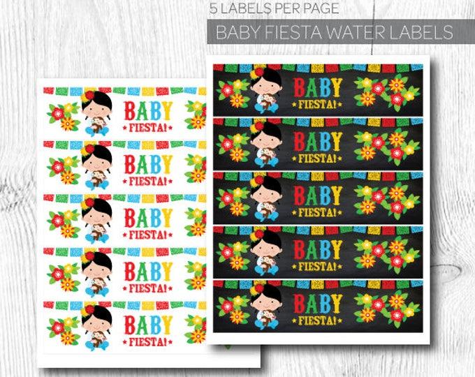 Fiesta Labels, Fiesta Baby Shower, Fiesta First Birthday, Mexican Birthday Party, Water bottle labels, Instant download