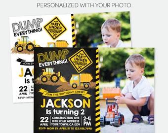 "Dump Truck Invitation with Photo (5""x7""), Construction Party, Construction Birthday Invitation, Personalized Digital Invitation, 2 options"
