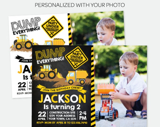"Dump Truck Invitation with Photo (5""x7""), Construction Party, Construction Birthday Invitation, Personalized Digital Invitation, 2 options"
