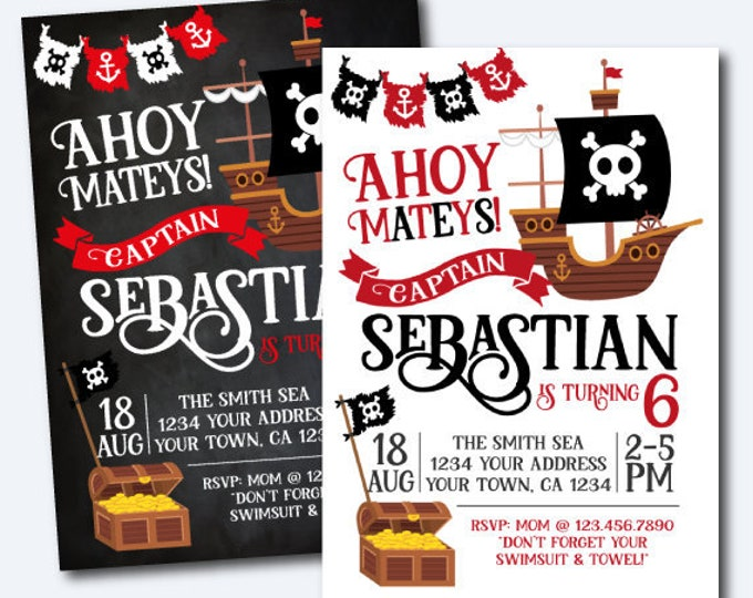 Pirate Invitation, Pirate Birthday Party, Pirate Ship Invitation, Ahoy Matey, Personalized Invitation, 2 options