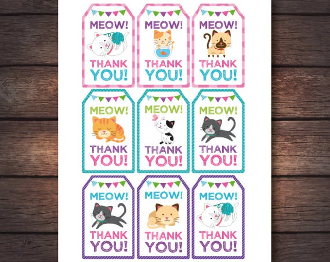 Kitten Birthday Party, Cat Thank You Tags, Cat adoption birthday, Kitty birthday, Digital files, Instant download