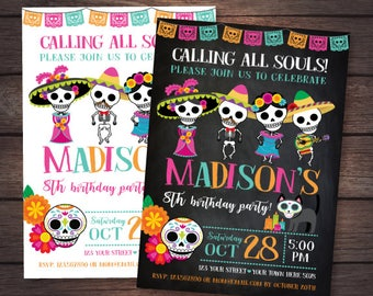 Day of the dead Invitation, Mexican Birthday Party, Day of the dead party, 2 options, DIGITAL