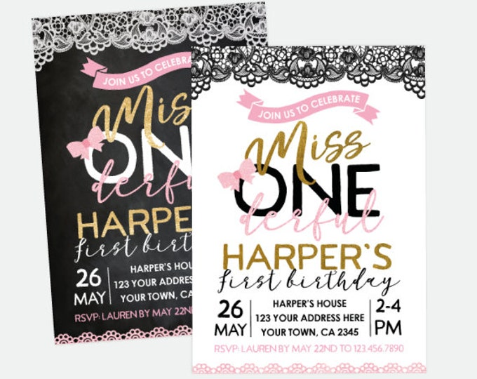Miss ONEderful Invitation, Pink Black Gold Party, Little Lady Birthday Invitation, Personalized Digital Invitation, 2 options