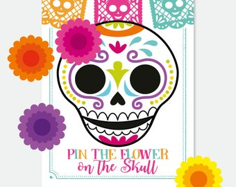 Day of the Dead, Pin the Flower on the Skull Game,  Dia de los Muertos Skull Party Decorations, Mexican Fiesta, Printable Digital Sign