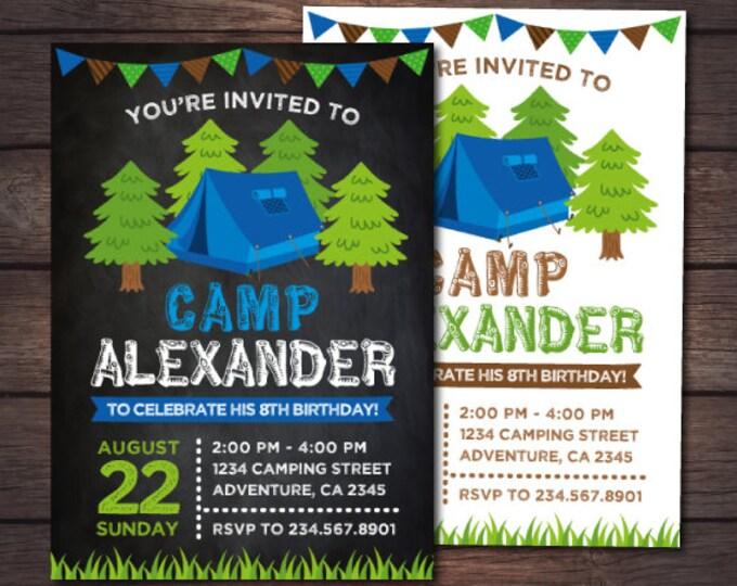 Camping Invitation, Summer Camp Birthday Party, Sleepover Invitation, Outdoors Birthday Party, Personalized Digital Invitation