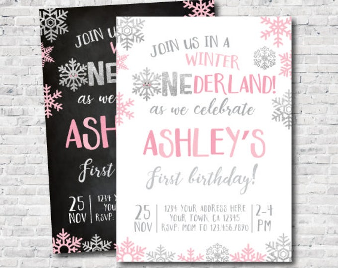 Winter Onederland Invitation, Little snowflake First Birthday Invitation, DIGITAL Personalized Invite, 2 options