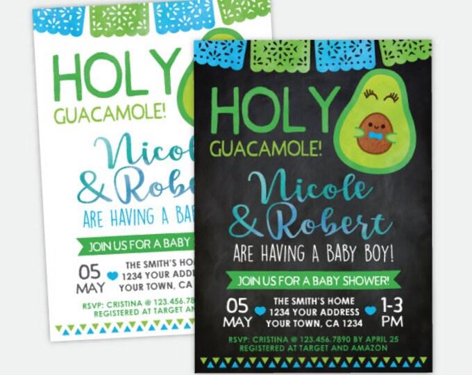 Holy Guacamole Baby Shower Invitation, Fiesta Boy Baby Shower, Cinco de Mayo Invitation, Personalized Digital Invitation