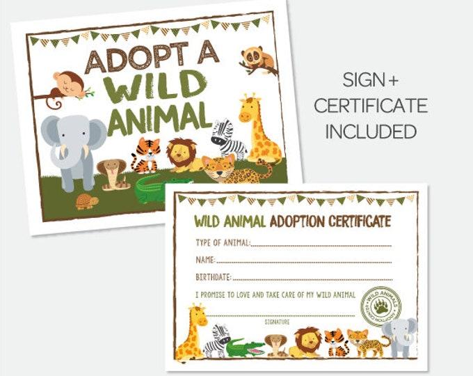 Adopt a Wild Animal, Safari Birthday Party, Safari Sign, Pet Adoption Party, Jungle Birthday Party, Pet Adoption Party, Instant download