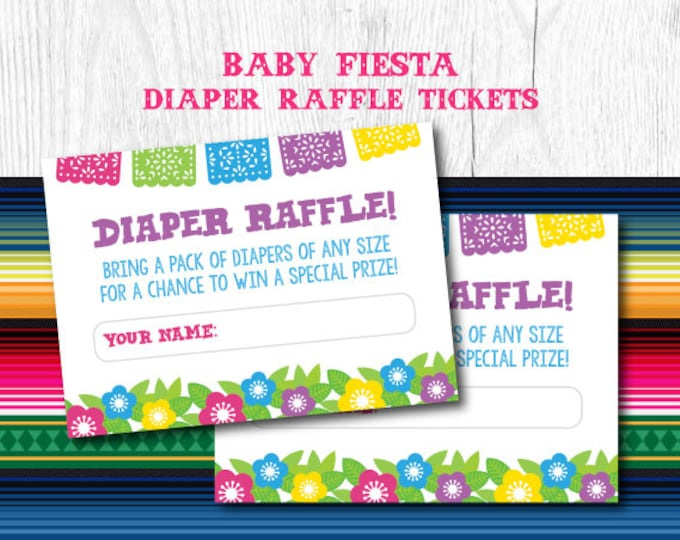 Fiesta Diaper Raffle Ticket, Diaper Raffle ticket printable, Diaper Raffle Cards, Diaper Raffle Sign, Instant Download
