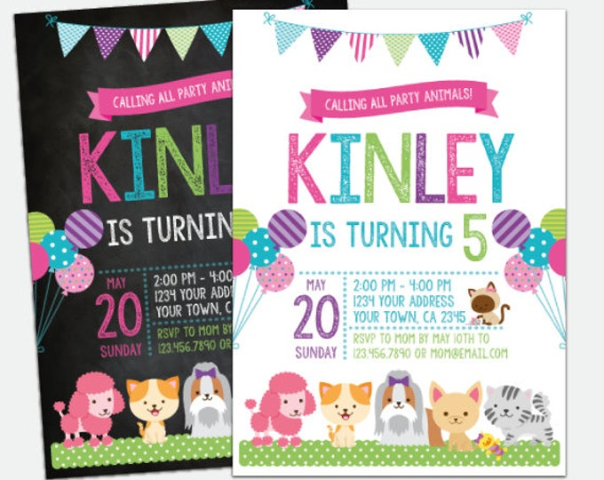 Puppies and Kitties Invitation, Pet adoption party, Puppy Birthday Party, Kitty Adoption, Personalized Digital Invitation, 2 Options