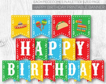 Fiesta Birthday decorations, Fiesta Banner, Fiesta First Birthday, Mexican Birthday Party, Printable Banner, Instant download