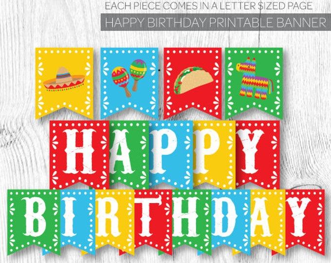 Fiesta Birthday decorations, Fiesta Banner, Fiesta First Birthday, Mexican Birthday Party, Printable Banner, Instant download