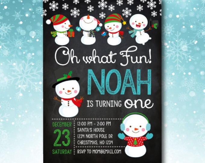 Winter onederland invitation, Christmas Birthday Invitations, Holiday Birthday Invitation, Snowman Invitation, Any age, DIGITAL, 2 options