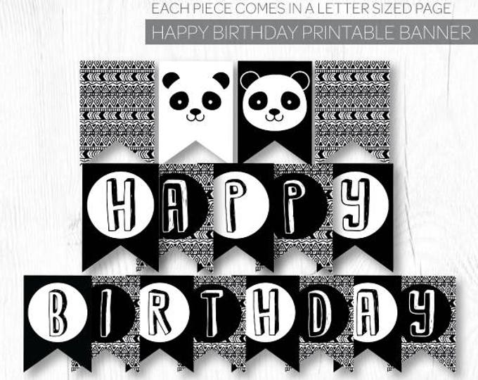Panda Banner, Panda Birthday Party, Panda Baby Shower, Panda Decorations, Black and white baby shower, DIGITAL, INSTANT DOWNLOAD