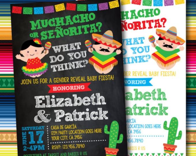 Gender Reveal Invitation, Fiesta Baby Shower Invitation, Gender Reveal Baby Shower, Printable Invitation, 2 Options
