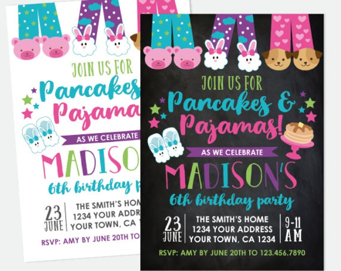 Pancakes and Pajamas Birthday Invitation, Sleepover Invitation, Slumber Party, Pajama Party, Personalized Digital Invitation, 2 options