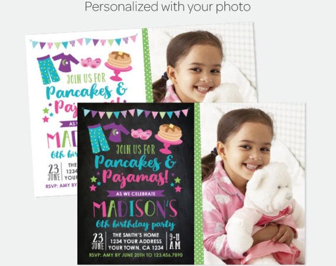 Pancakes and Pajamas Invitation with Photo, Pajama Party, Slumber Party Invitation, Personalized Digital Invitation, 2 options