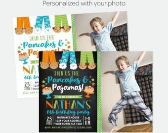 Pancakes and Pajamas Boy Birthday Invitation with Photo, Pajama Party, Slumber Party Invitation, Personalized Digital Invitation, 2 options