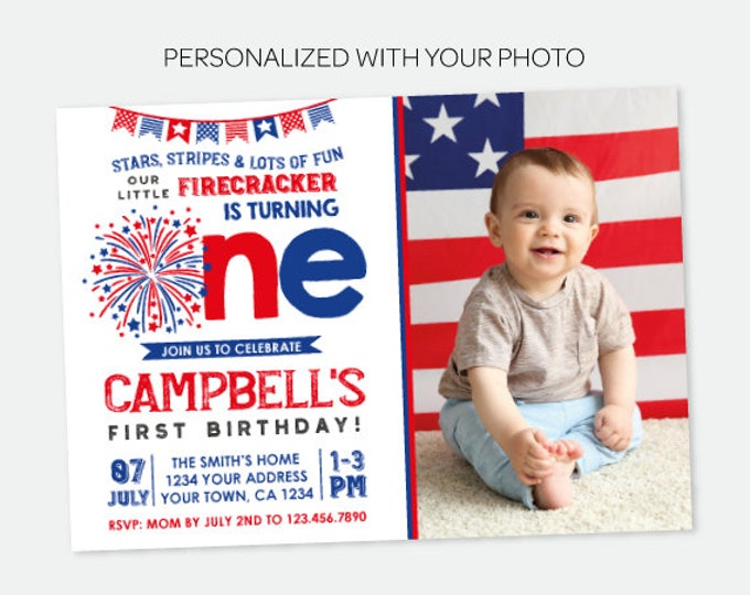 Little Firecracker Invitation with Photo, First Birthday Party, 4th of July Invitation, Fourth of July, Personalized Digital Invitation