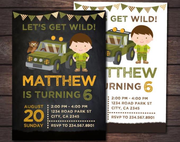 Safari Explorer Birthday Invitation, Jungle Birthday Invitation, Adventure Birthday Party, Zoo Birthday, Personalized DIGITAL, 2 Options