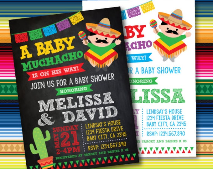 Mexican Fiesta Baby Shower Invites, Fiesta Baby Shower Invitations, Mexican Baby Shower Invitations, Digital, 2 Options