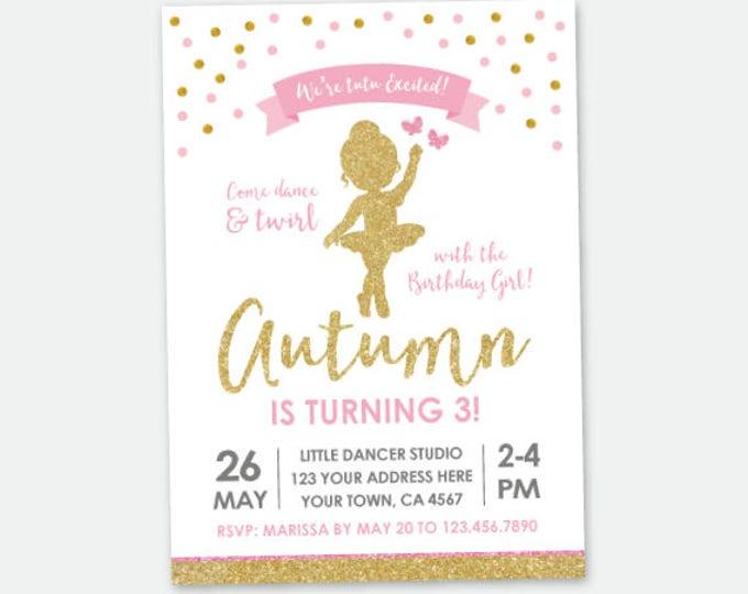 Ballerina Birthday Invitation, Ballet Birthday Party, Pink & Gold, Tutu Birthday Party, Personalized DIGITAL Invitations