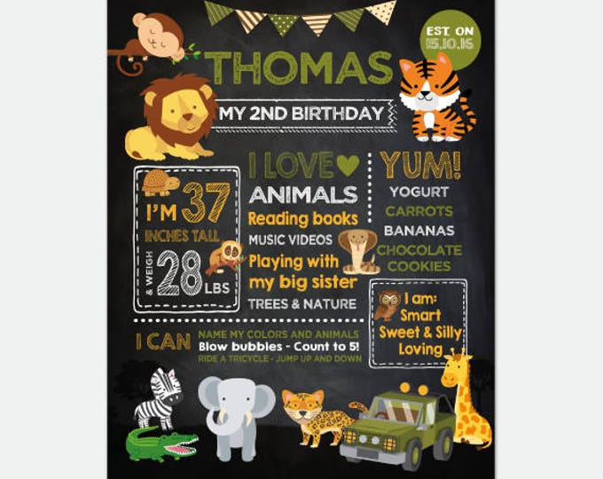 Safari Chalkboard Sign, Jungle Birthday Party Decorations, Any Age, Personalized Digital Board