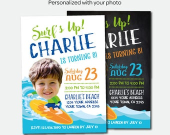 Surf Birthday Invitation, Beach Party, Tropical Birthday Invitation, Summer Party, Personalized Invites, 2 Options