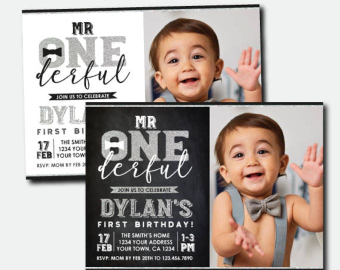 Mr Onederful First Birthday Invitation with Photo, Silver & Black Boys 1st Birthday Party, Personalized Invitations, 2 options