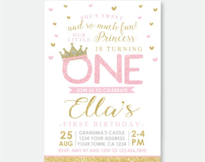 Princess First Birthday Invitation, Royal Birthday Party, Princess Party, Crown Invitation, Pink and Gold Personalized Digital Invitation