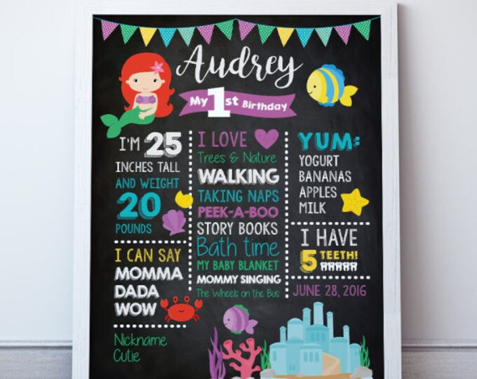 Little Mermaid Birthday, Birthday Stats, 1st Birthday Chalkboard Poster, Little Mermaid Party, First Birthday Sign, Birthday Photo Prop