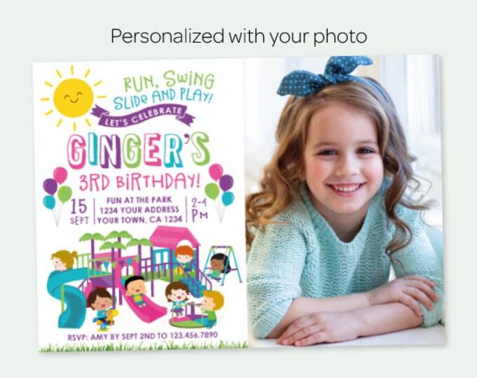 Park Birthday Invitation with Photo, Park Birthday Party, Playground Invitation, Girl Birthday Party, Personalized Digital Invitation