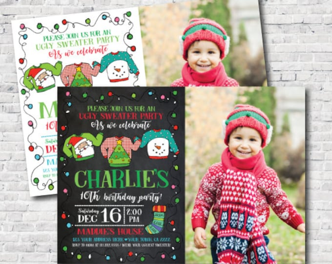 Ugly Sweater Invitation with picture, Holiday Invitation, Christmas Birthday Party, Personalized Invite, Unisex Birthday Invitation, DIGITAL