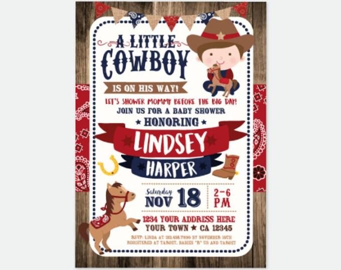 Cowboy Baby Shower Invitation, Boy Baby Shower Invitation, Buckaroo baby shower Invite, Horse Baby Shower, Personalized digital Invitation