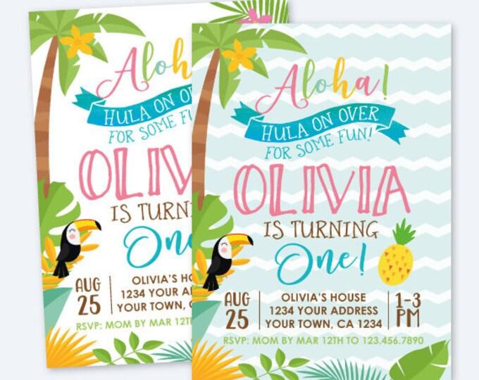 Luau 1st Birthday Invitation, Hawaiian Birthday Party, Summer Birthday Party, Personalized Digital Invite, Luau Vintage Invite, 2 options