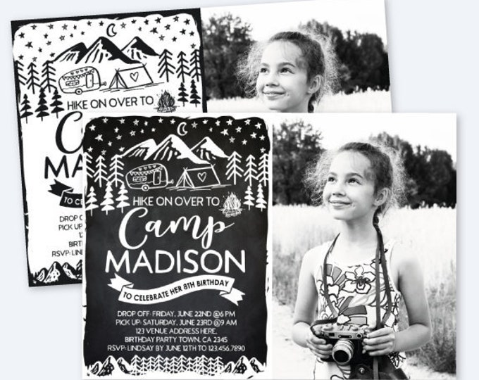 Camping Invitation with Photo, Black & White, Summer Camp Party, Sleepover Invitation, Outdoors Birthday, Personalized Digital Invitation