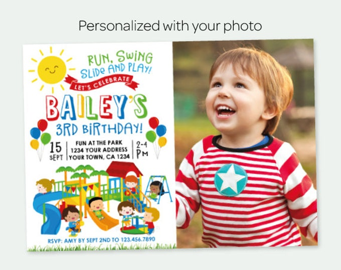 Park Invitation with Photo, Park Birthday Party, Playground Invitation, Primary Colors Birthday Party, Personalized Digital Invitation