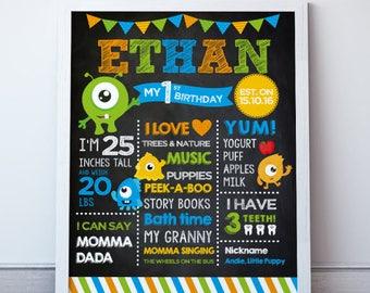 Little Monster 1st Birthday, Little monster 1st Birthday Decorations, Birthday Milestone Poster, Milestone Board, Printable Poster