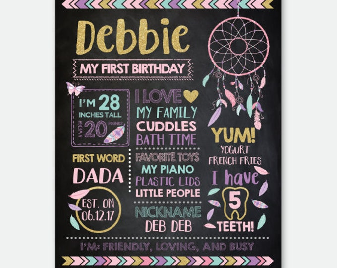 Dreamcatcher Chalkboard Sign, Milestones Poster, First Birthday Board, Stats Birthday Poster, Any Age, Personalized Digital Printable Board