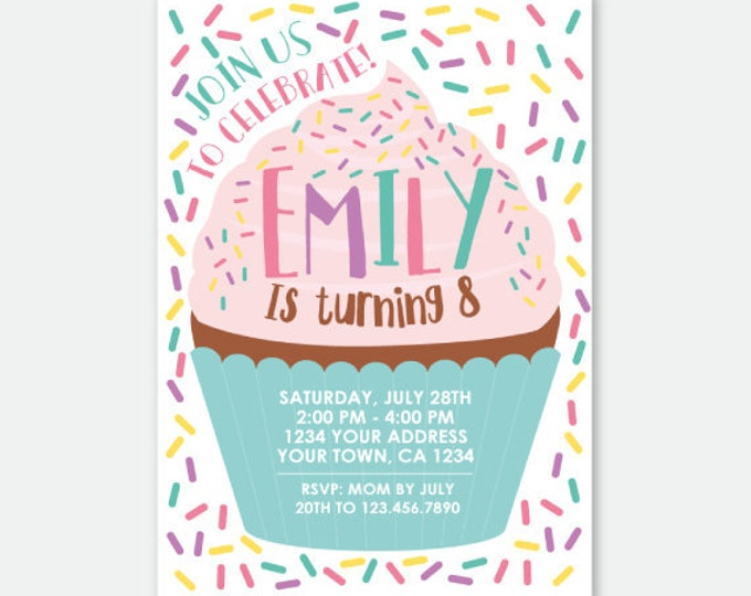 Cupcake Invitation, Baking Party Invitation, Cake Invitation, Sprinkle Birthday Invitation, Personalized Digital Invitations, You Print