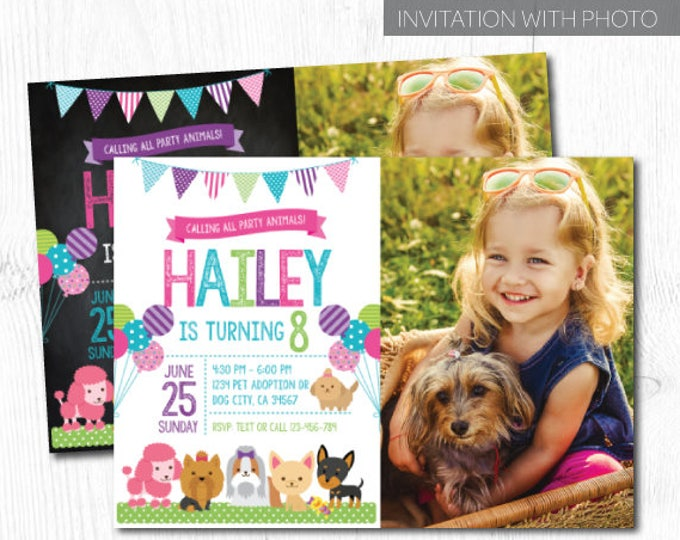 Puppy Invitation with photo, Pet adoption party, Puppy Birthday Party, Puppy Adoption, Digital Invitation, 2 Options