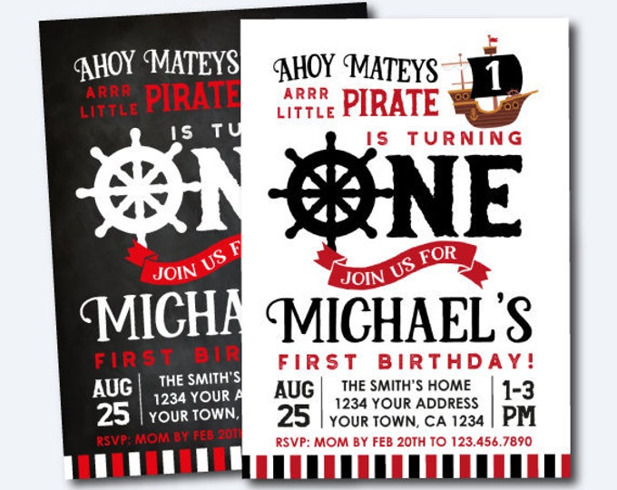 Pirate First Birthday Invitation, Pirate Birthday Party, Pirate Ship Invitation, Ahoy Matey, Personalized Invitation, 2 options