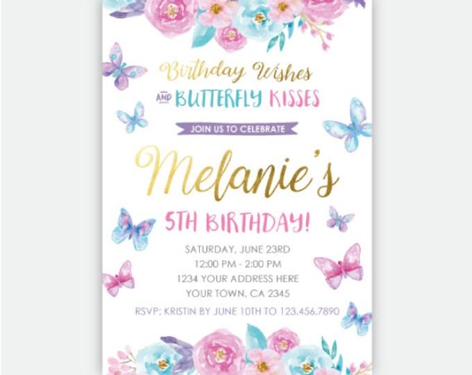 Butterfly Birthday Invitation, Spring Birthday Party Invites, Garden Invitation, Floral Birthday Invite, Personalized Invitation, 2 options