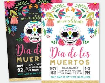 Dia de los Muertos Invitation, Day of the Dead Party, Sugar Skull Invitation, Fiesta Personalized Printable DIGITAL Invite, 2 options