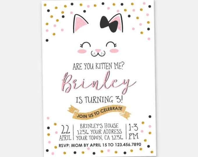 Kitty Birthday invitation, Kitty Cat Birthday Party, Cat Invitation, Pawty Invitation, Personalized Digital Invitation
